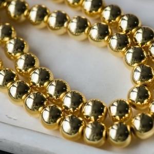 Бусина гематит немагнитный, круглая, цвет золото, 10 мм...