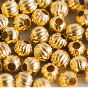 Бусина металлическая ребристая, золото, 6 мм...