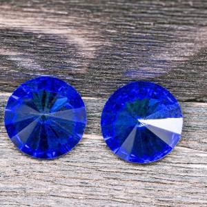 Кабошон стеклянный круглый Риволи, синий, 12 мм...