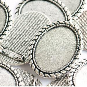 Заготовка для броши, овальная, античное серебро, 43х33х...