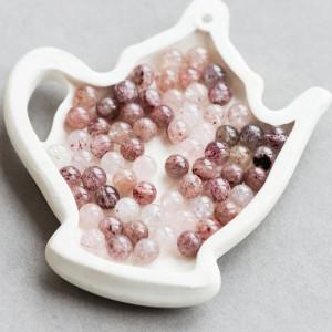 Бусина клубничный кварц, розовый/винный, 6 мм...