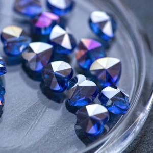 Бусина в форме сердца,  стекло, синий радужный, 10x10x6...