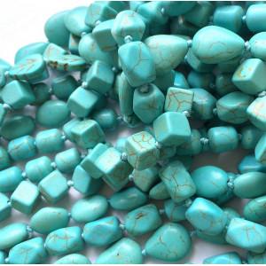 Бусина говлит, окрашенный, цвет голубой, 18х8-10 мм...