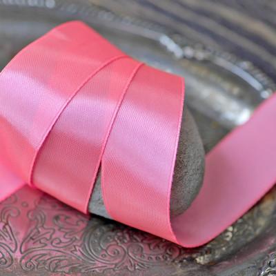 Лента, атлас, цвет неоновый розовый, ширина 25 мм