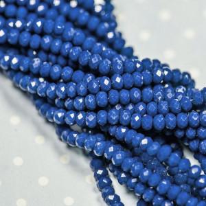 Бусина абакус стеклянная имитация нефрита, синий, 3х2 м...