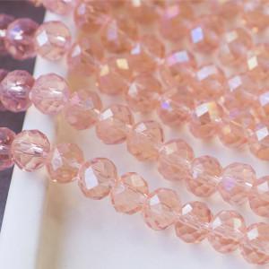 Бусина абакус стеклянная граненая, прозрачный, 8х6 мм...