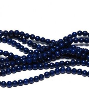 Бусина имитация нефрита, круглая, цвет темно-синий, окр...
