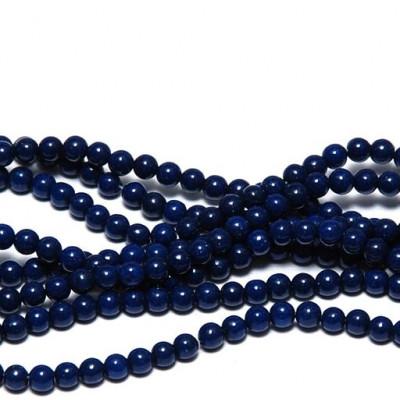 Бусина имитация нефрита, круглая, цвет темно-синий, окрашен., 4 мм