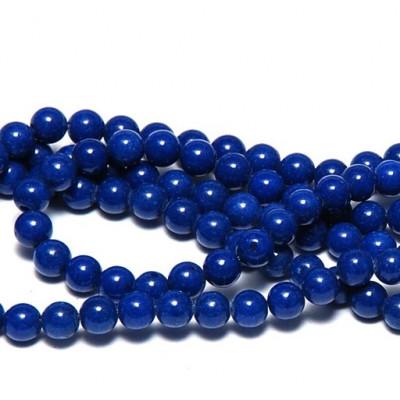 Бусина имитация нефрита, круглая, цвет синий, окрашен., 6 мм