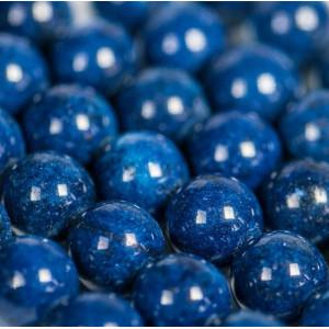 Бусина имитация нефрита, круглая, цвет синий, окрашен.,...