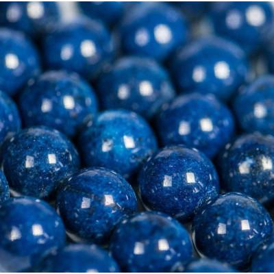 Бусина имитация нефрита, круглая, цвет синий, окрашен., 10 мм