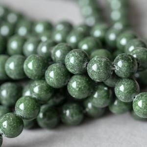 Бусина имитация нефрита, круглая, цвет темно-зеленый, о...