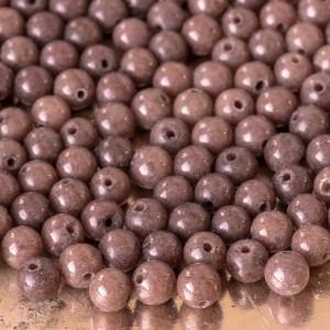 Бусина имитация нефрита, круглая, цвет коричневый, окра...