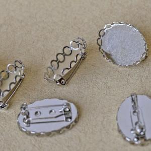 Заготовка для броши, овал, цв. платина, 26x19x9 мм...