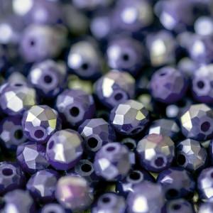 Бусина абакус стеклянная граненая, сиренево-фиолетовый ...