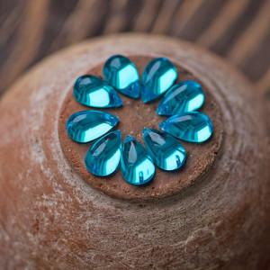 Стразы акриловые пришивные, голубой, 15х9х6 мм...