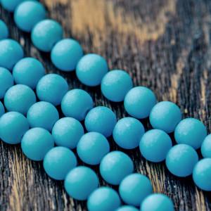 Бусина имитация нефрита, матовый голубой 8 мм...