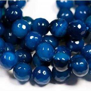 Граненые бусины агата, цвет темно-синий, окрашен., 8 мм...