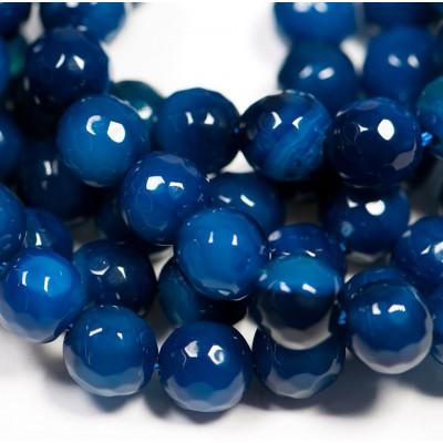 Граненые бусины агата, цвет темно-синий, окрашен., 8 мм