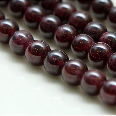 Бусина гранат, круглая, цвет темно-красный, полирован, 6 мм