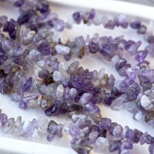 Бусина аметист осколки, цвет сиренево-фиолетовый, 5-9 м...