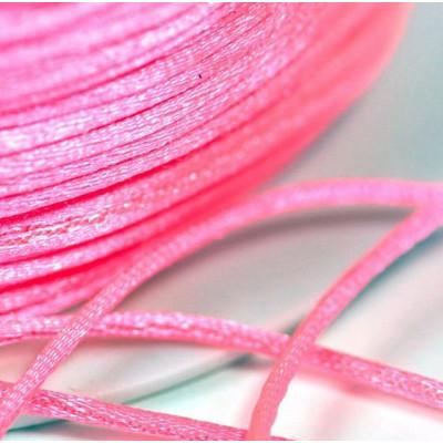 Атласный шнур для кумихимо, ярко-розовый, 1 мм (4 м)