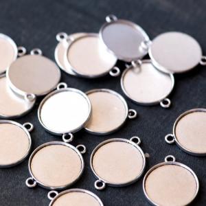Коннектор-сеттинг 1-1 отв, античное серебро, 29x22x2.5 ...