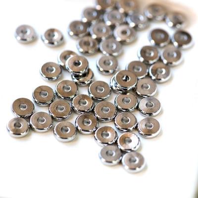 Разделительная бусина, плоская, платина, 6.5x2 мм