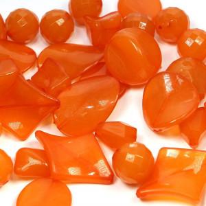 Набор из акриловых бусин разной формы, цвет оранжевый...