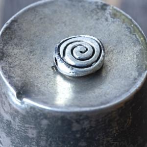 Бусина металлическая фигурная, античное серебро, 8х3.5 ...