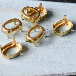Цапы формы капля, открытые, цвет золото, 14х10 мм...