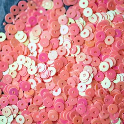 Пайетки,  плоские, насыщенный розовый радужный, 4 мм (уп 10г)