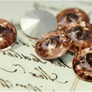 Кабошон стеклянный круглый Риволи, розово-коричневый, 1...