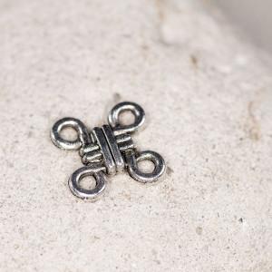 Коннектор 2-2 отв, античное серебро, 12,5x10x2,5 мм...