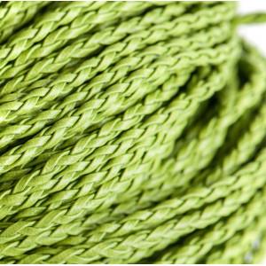 Шнур плетеный, из искусственной кожи, лайм, 3 мм...
