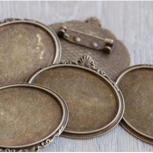 Основа для броши, овальная, античная бронза, 40х45х2 мм...