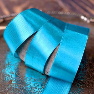 Лента, атлас, цвет лазурно-синий, ширина 25 мм...