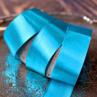 Лента, атлас, цвет лазурно-синий, ширина 25 мм