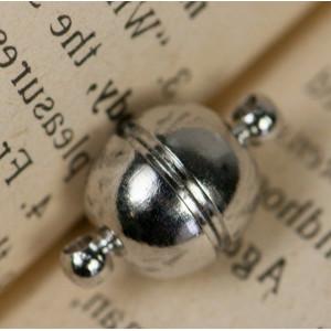 Застежка магнитная круглая, цвет - платина, 16х10 мм...