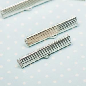 Зажим-концевик для ленты, платина, 35x8х5 мм...