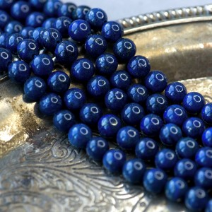 Бусина лазурит, круглая, цвет синий, окрашен., 8 мм...