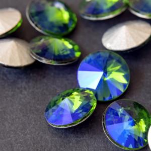 Кабошон стеклянный круглый Риволи, сине-зеленый, 14х7 м...