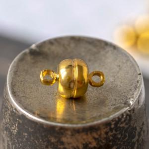 Застежка магнитная круглая, цв. золото, 12х7 мм...