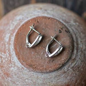 Швензы (основы для сережек), покрытие - платина, 19x13,...