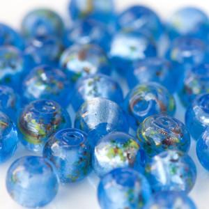 Бусина круглая стеклянная фольгированная, голубой, 12 м...