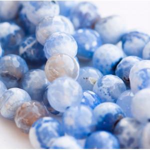 Граненые бусины агата, цвет голубой с белым, окрашен, 1...