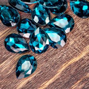 Кабошон стеклянный с гранями, капля, морской синий, 18х...