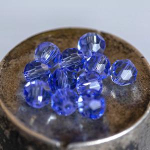 Бусина круглая стеклянная с гранями, голубой, 4 мм   (у...