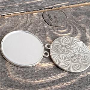 Подвеска металлическая с зеркальцем, античное серебро, ...