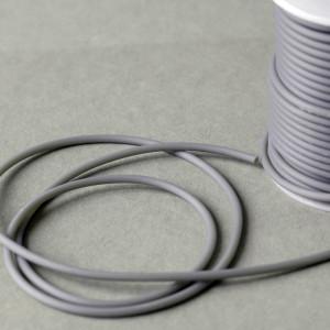 Шнур резиновый, с отверстием, цвет серый, диаметр 3 мм...